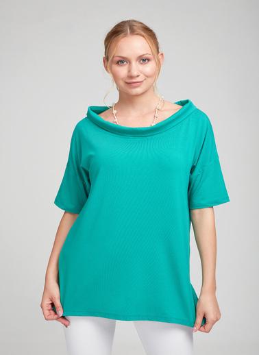 Optique Knitwear Düz Kayık Yaka Standart Boy 3/4 Kol Penye Bluz Renkli